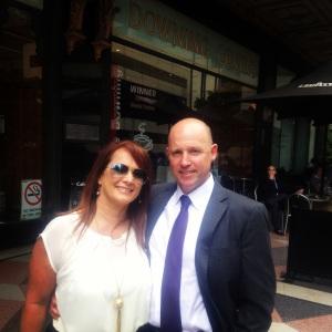 Nikki Wells @RazingHellFilm was comforted by her partner, Chris Auton in the court room.